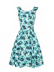 cheap -Women's Daily Beach Holiday Vintage Sheath Swing Dress,Floral Boat Neck Knee-length Sleeveless Cotton Polyester Summer High Rise