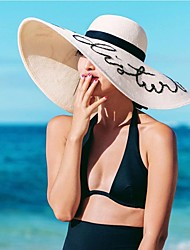 Women's Summer Wide Brim Hats Letters Embroidery Bowknot Foldable Sun Hats