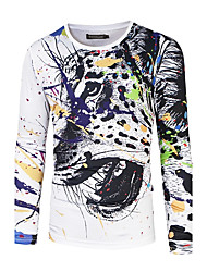 Men's Other Active All Seasons T-shirt,Animal Print Round Neck Long Sleeve Cotton Polyester Medium