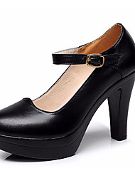 cheap -Women's Heels Basic Pump Leather Spring/Fall Office & Career Basic Pump Chunky Heel Black White 3in-3 3/4in