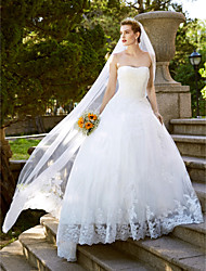 Ball Gown Princess Strapless Floor Length Lace Tulle Wedding Dress with Lace by LAN TING BRIDE®