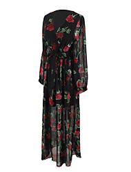 Trapèze Robe Femme Soirée Quotidien Sortie Chic de Rue,Fleur Col en V Maxi Manches Longues Coton Polyester Printemps Eté Taille HauteNon