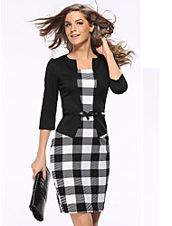 Women's Office/Career Business Corporate Clothing Simple Sophisticated A Line Bodycon DressPatchwork Lattice Stand Knee-length3/4 Length