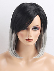 The Latest Unique Straight Black Gray Ombre Human Hair Wigs