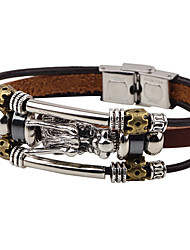 Men's Leather Bracelet Punk Hip-Hop Rock Costume Jewelry Fashion Vintage Leather Alloy Circle Round Geometric Jewelry For Party
