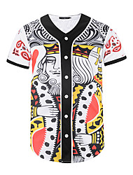 baratos -Homem Camiseta Ocasião Especial Diário Rua Moda de Rua Activo Punk & Góticas Verão,3D impressão Estampado Poliéster Decote V Manga Curta