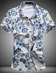 Masculino Camisa Social Para Noite Tamanhos Grandes Vintage Moda de Rua Primavera Verão,Floral Algodão Colarinho Clerical Manga Curta