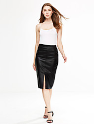 Women's Going out Casual/Daily Knee-length Skirts,Simple Street chic Pencil Patchwork Solid Fall Winter