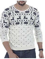 cheap -Men's Casual Chinoiserie Short Pullover,Animal Print V-neck Long Sleeves Cotton Blend Winter Fall Medium Micro-elastic