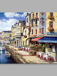 Oil Paintings Modern Landscape The Stores Beside The River With Wooden Stretcher Ready To Hang