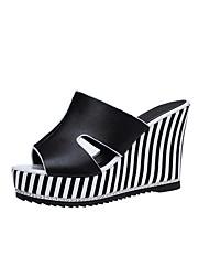 Da donna Sandali Con cinghia PU (Poliuretano) Estate Casual Footing Con cinghia A quadri Zeppa Bianco Nero 7,5 - 9,5 cm