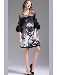 baratos -Mulheres Moda de Rua Evasê Vestido - Estampado, Retrato Acima do Joelho