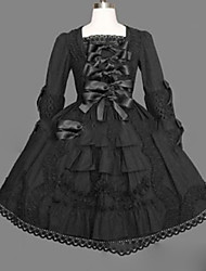 cheap -Gothic Lolita Dress Princess Punk Women's Girls' One Piece Dress Cosplay Cap Long Sleeves Short / Mini