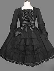billiga -Prinsessa Gotisk Lolita Punk Dam Flickor Klänningar Cosplay Svart Balklänning Holk Långärmad Kort / mini Plusstorlekar Anpassad Kostymer