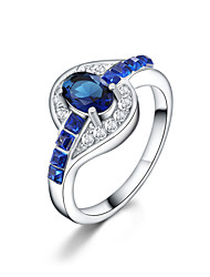 Silver Plated   Diamond Blue QuartzJewelry For Daily 1pc