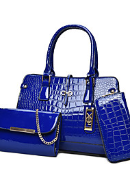 cheap -Women Bags Patent Leather Bag Set 3 Pcs Purse Set for All Seasons Blue White Black Red Fuchsia