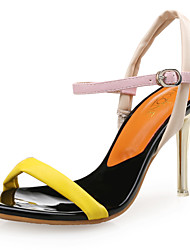 Women's Sandals Club Shoes Leather Synthetic Spring Summer Office & Career Party & Evening Dress Stiletto Heel Green Yellow 3in-3 3/4in