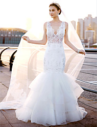 Mermaid / Trumpet V-neck Sweep / Brush Train Lace Tulle Wedding Dress with Lace Side-Draped by LAN TING BRIDE®