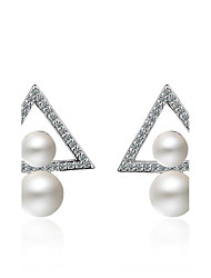 cheap -Women's Imitation Pearl Pearl Stud Earrings - Double Pearls Silver Triangle Earrings For Party Evening Dailywear Gift