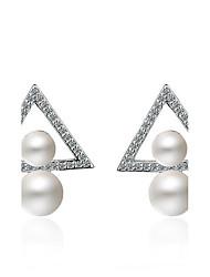 abordables -Mujer Pendientes cortos Perla artificial perla doble Perla Chapado en Plata Forma de Triángulo Joyas Para Fiesta Uso Diario