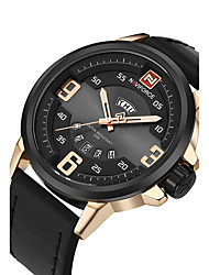NAVIFORCE Men's Sport Military Fashion Watch Wristwatch Luxucy Casual Calendar Large Dial PU Band Watch Quartz  Unique Cool Watches