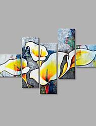 Dipinta a mano Floreale/Botanical Fiore Astratto Vario Cinque Pannelli Tela Hang-Dipinto ad olio For Decorazioni per la casa
