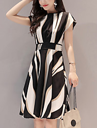 cheap -Women's Going out Work Street chic A Line Dress,Striped Round Neck Knee-length Short Sleeves Polyester Summer High Rise Micro-elastic Thin