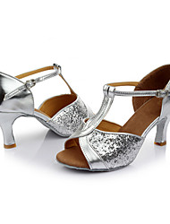 Customizable Women's Latin Paillette Sandals Indoor Sequin Customized Heel Silver