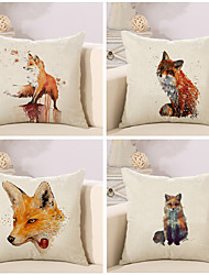 cheap -4 pcs Cotton/Linen Pillow Case Pillow Cover, Classic Animal Novelty Classical Neoclassical Euro Traditional/Classic Retro