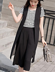 cheap -Women's Daily Going out Work Casual Bolster Summer T-shirt Pant Suits,Solid Striped Round Neck Short Sleeve Chiffon Polyster