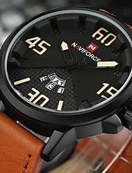 NAVIFORCE Men's Sport Military Fashion Watch Wristwatch Luxucy Casual Calendar Large Dial PU Band Creative Watch Quartz Unique Cool Watches
