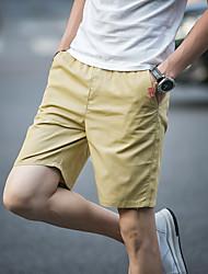 Da uomo A vita medio-alta Semplice Anelastico Pantaloncini Pantaloni,Dritto Tinta unita Tinta unita