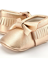cheap -Girls' Shoes Microfiber Fall First Walkers Loafers & Slip-Ons Bowknot / Tassel for Kid's Almond / Light Pink / Light Green / Party & Evening