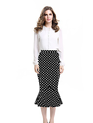 Womens Summer Vintage Polka Dot High Waist Elastic Work Office Party Slim Mermaid Pencil Midi Skirt