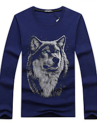 6 Colors Fashion Summer Men's Plus Size T Shirt 3D Wolf Printed Casual T-shirt Youth Brand Cotton Round Neck Long Sleeve Tee Shirts