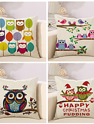 cheap -Set Of 4 Creative Owl Design Pattern Pillow Cover Classic Cotton/Linen Pillow Case Home Decor Cushion Cover
