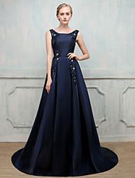 Da ballo Con decorazione gioiello Strascico a terra Satin adesivo Serata formale Vestito con Perline Perle di imitazione di SG