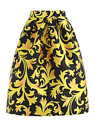 Women's Going out Midi Skirts A Line Print Spring Summer