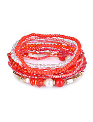 cheap -Lureme Bohemian Cubic Beads Pearl Multi Strand Textured Stackable Bangle Bracelet Set