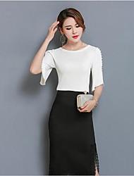 preiswerte -Damen Solide Niedlich Lässig/Alltäglich T-Shirt-Ärmel Rock Anzüge,Rundhalsausschnitt Sommer Mikro-elastisch
