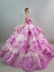 baratos Roupas para Barbies-Festa/Noite Vestidos Para Boneca Barbie Poliéster Vestido Para Menina de Boneca de Brinquedo