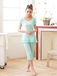 Dámský domácí oblek pevné barvy ruffles obrácené o krk krátký rukáv pyžama set