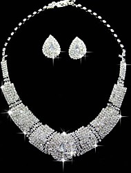 cheap -Women's Rhinestone Jewelry Set 1 Necklace / 1 Pair of Earrings - Luxury / Square Square White Jewelry Set For Wedding / Party /