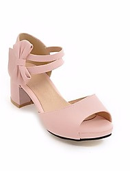 preiswerte -Damen Schuhe PU Sommer Pumps Sandalen Blockabsatz Peep Toe Schnalle Für Kleid Schwarz Rosa Mandelfarben