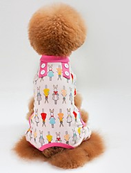 Недорогие -Кошка Собака Футболка Толстовка Комбинезоны Пижамы Брюки Одежда для собак На каждый день Кролик Зеленый Синий Розовый