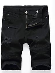 economico -Per uomo Taglie forti Cotone Taglia piccola Pantaloncini Pantaloni - Tinta unita Traforato Strappato