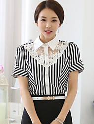 cheap -Women's Work Cotton Blouse - Striped, Lace Backless Shirt Collar