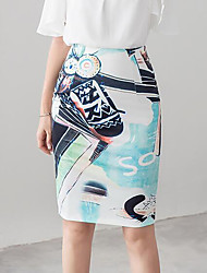 cheap -Women's Daily Going out Knee-length Skirts,Street chic Pencil Knitwear Floral Summer