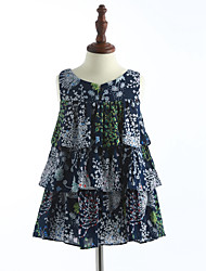 cheap -Girl's Print Dress,Cotton Summer Sleeveless Floral Blue