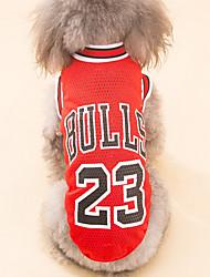 baratos -Cachorro Camiseta Roupas para Cães Formais Vermelho Preto Poliéster Ocasiões Especiais Para animais de estimação Homens Mulheres Casual
